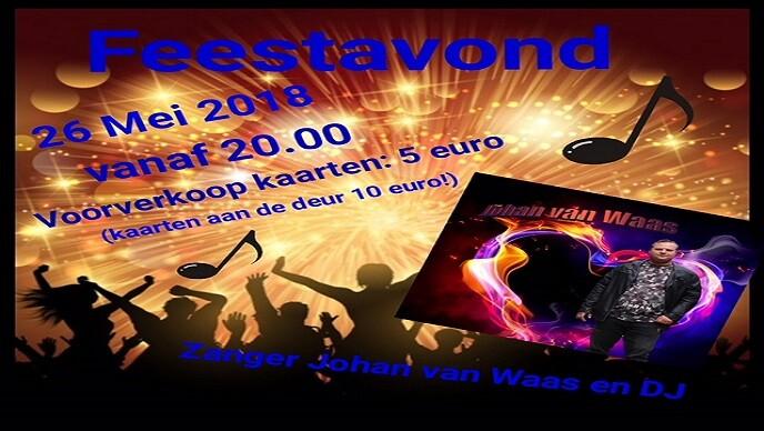 Save the Date: 26 mei Feest met zanger Johan van Waas!
